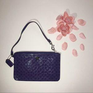 Purple Coach Wristlet Patent Leather